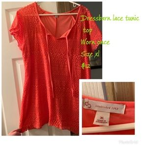 Coral lace tunic top